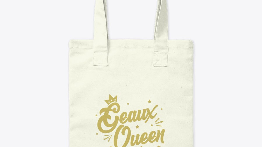 Geaux Queen Canvas Tote Bag White with Gold