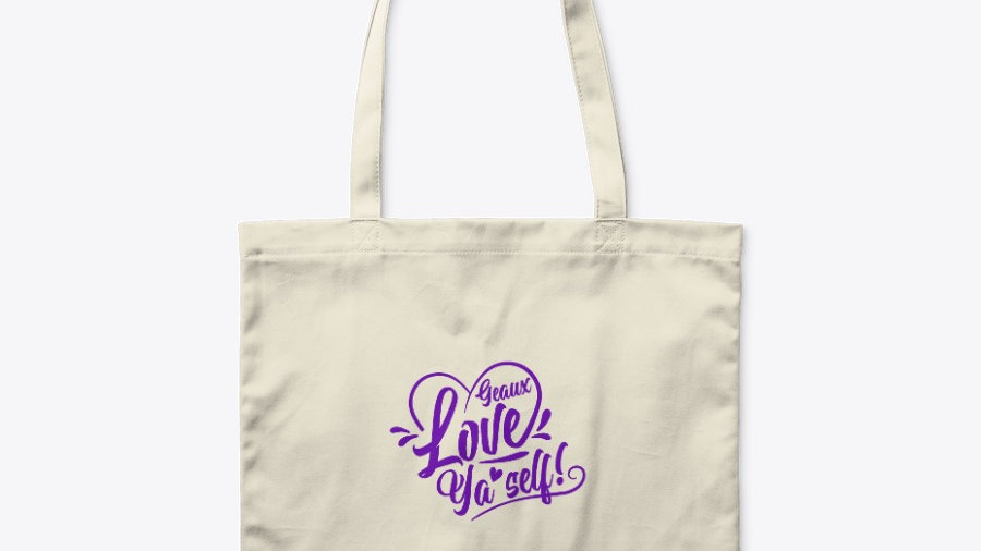 Geaux Love Ya'Self Tote Bag White with Purple