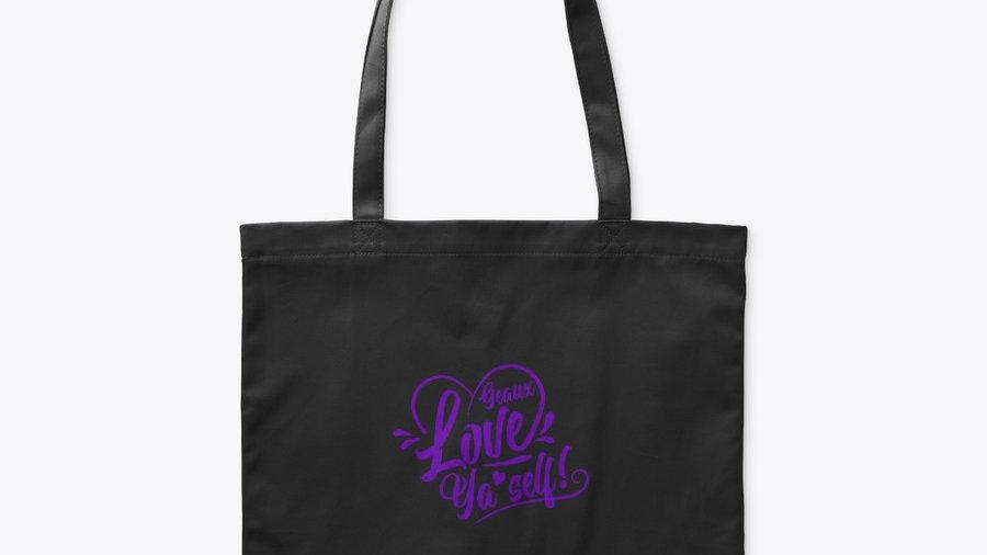 Geaux Love Ya'Self Tote Bag Black with Purple