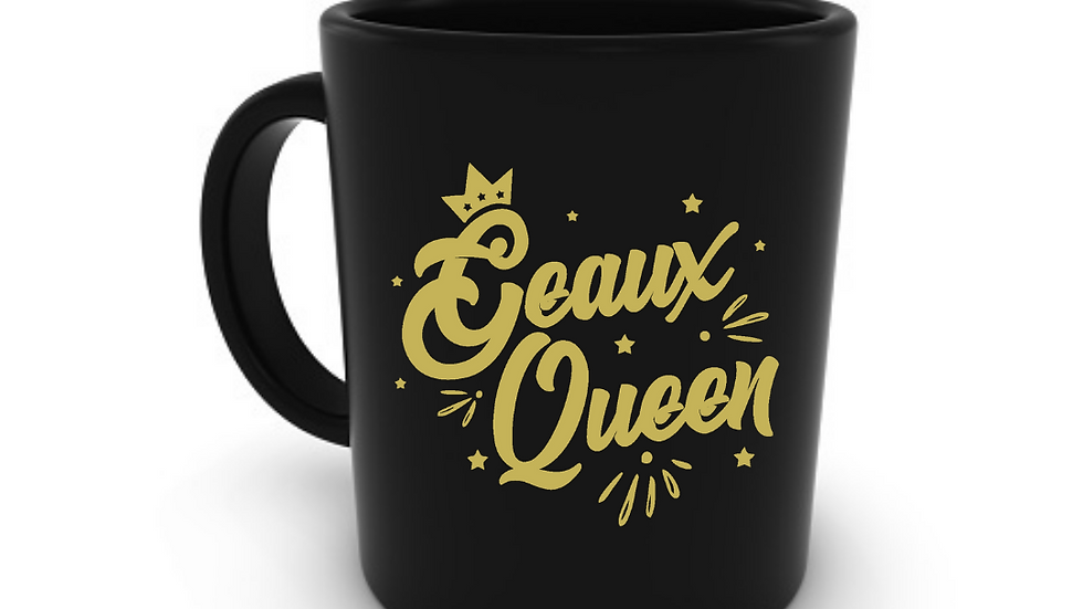 Geaux Queen Mug Black with Gold