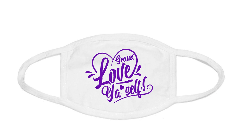 Geaux Love Ya'Self Face Mask White with Purple