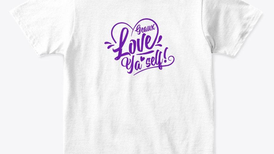 Geaux Love Ya'Self T-shirt White with Purple