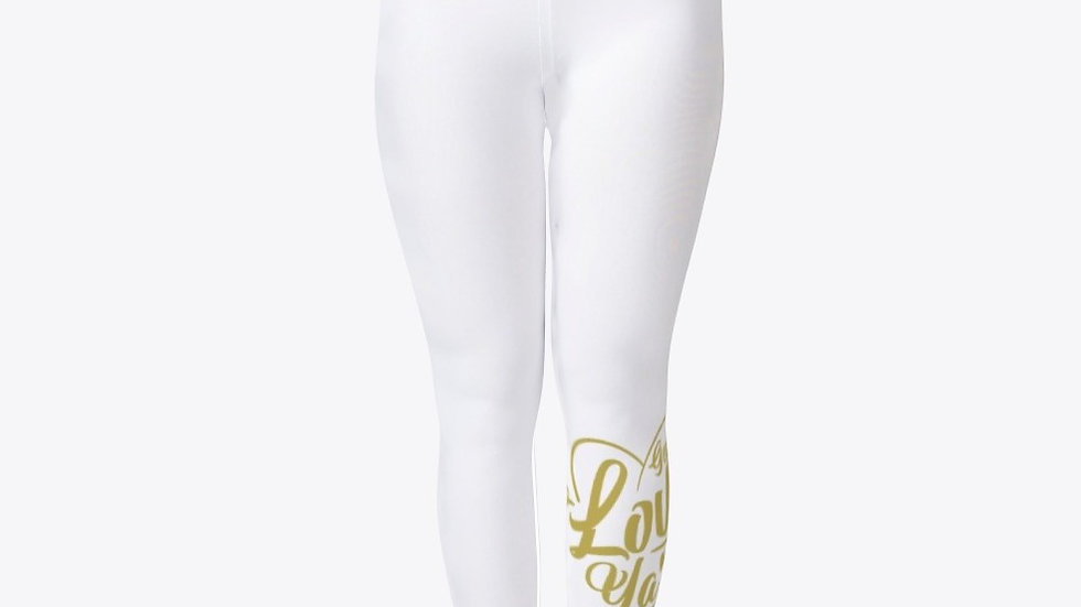 Geaux Love Ya'Self Tights White with Gold