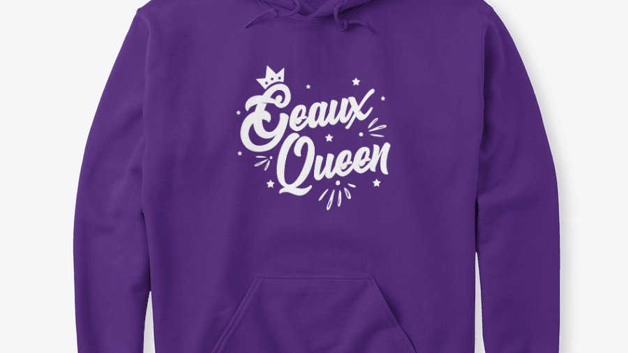 Geaux Queen Hoodie Purple with White