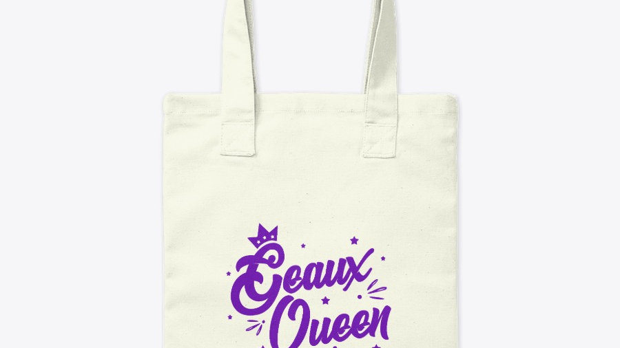 Geaux Queen Tote Bag White with Purple