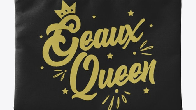 Geaux Queen Pouch Black with Gold