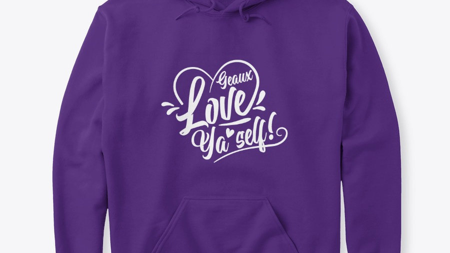 Geaux Love Ya'Self Hoodie Purple with White