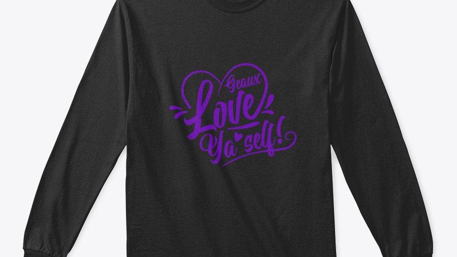 Geaux Love Ya'Self Sweatshirt Black with Purple