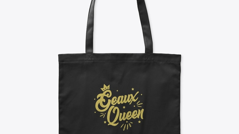 Geaux Queen Tote Bag Black with Gold