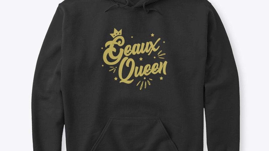 Geaux Queen Hoodie Black with Gold