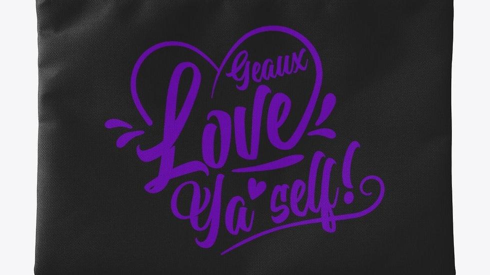 Geaux Love Ya'Self Pouch Black with Purple