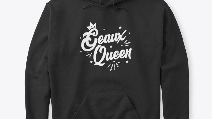 Geaux Queen Hoodie Black with White