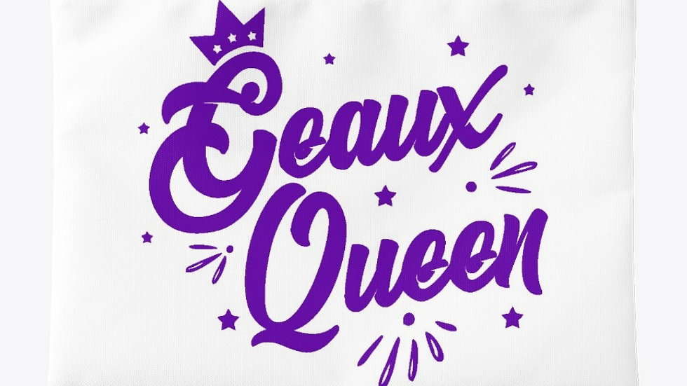 Geaux Queen Pouch White with Purple