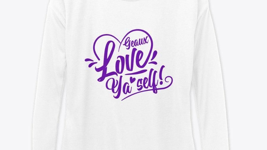 Geaux Love Ya'Self Sweatshirt White with Purple