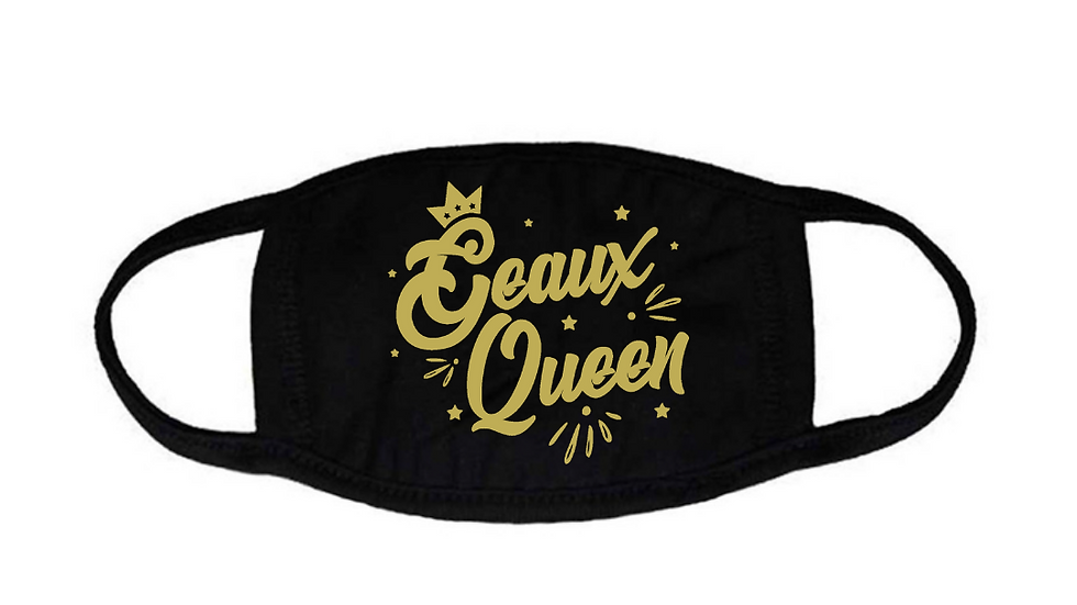 Geaux Queen Face Mask Black with Gold