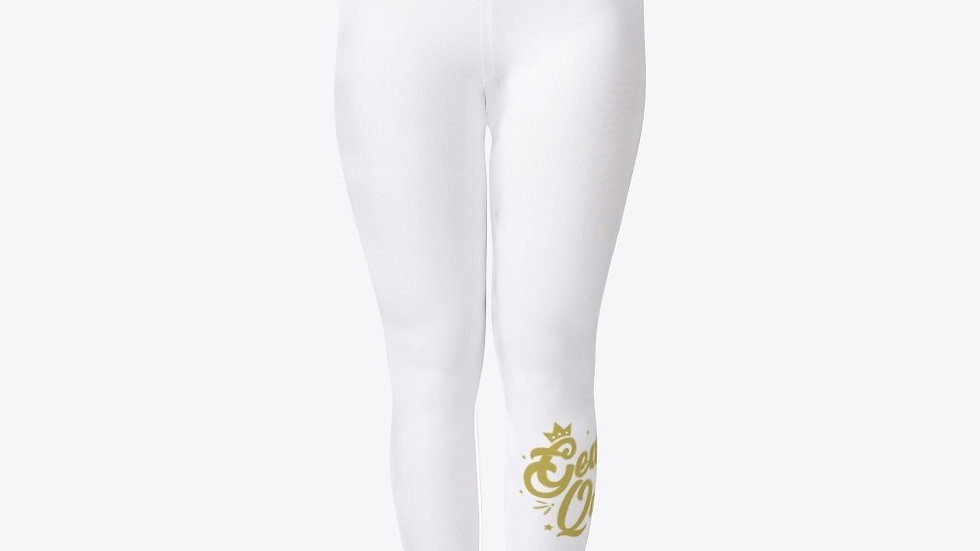 Geaux Queen Tights White with Gold