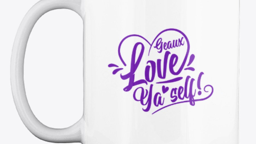 Geaux Love Ya'Self Mug White with Purple