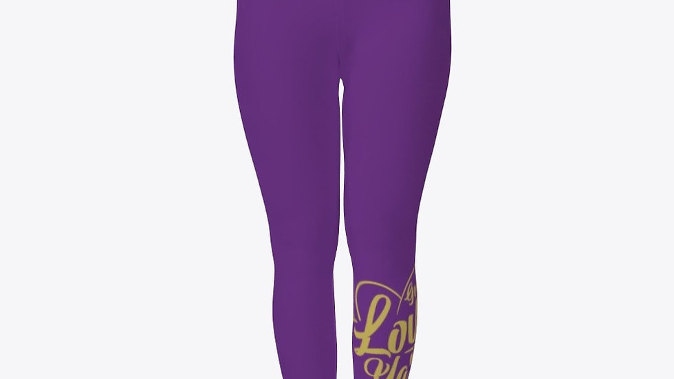 Geaux Love Ya'Self Tights Purple with Gold