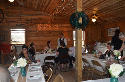 Wedding guests in packhouse
