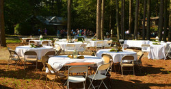 Tables set with white tablecloths