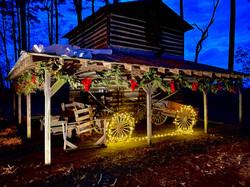 Tobacco barn with christmas lights and garland