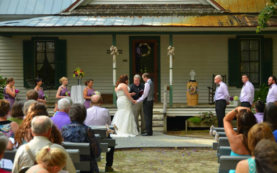 Wedding ceremony at historic homeste