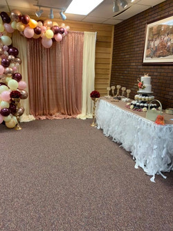 Indoor lobby space decorated