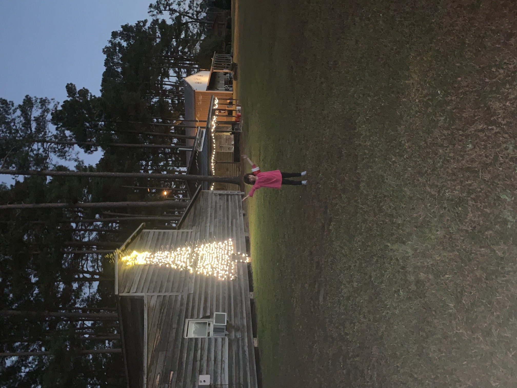 A little girl standing in front of the Christmas tree light design on the back of the packhouse.