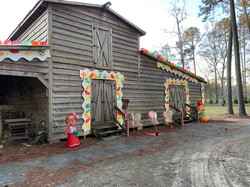 Another view of the packhouse decorated like a gingerbread house.