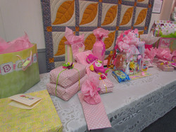 Baby shower decor on table