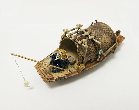 Bateau de pêcheur en grès (18 cm de longueur)