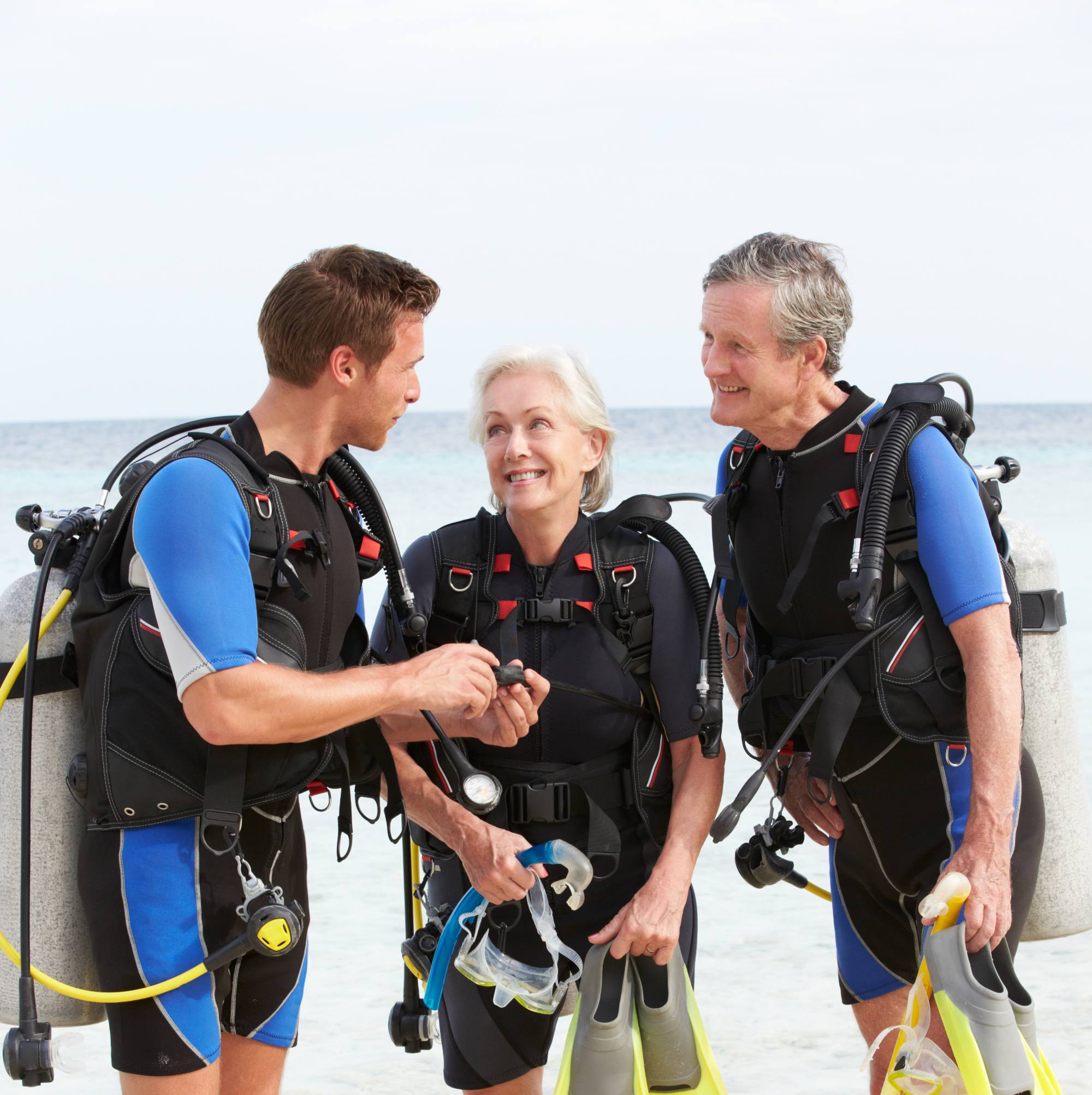 Senior Couple Having Scuba Diving Lesson
