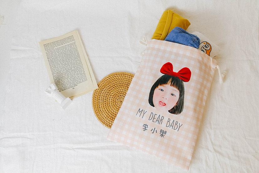 客製禮物 客製幼兒園衣物收納袋  室內鞋袋  束口袋