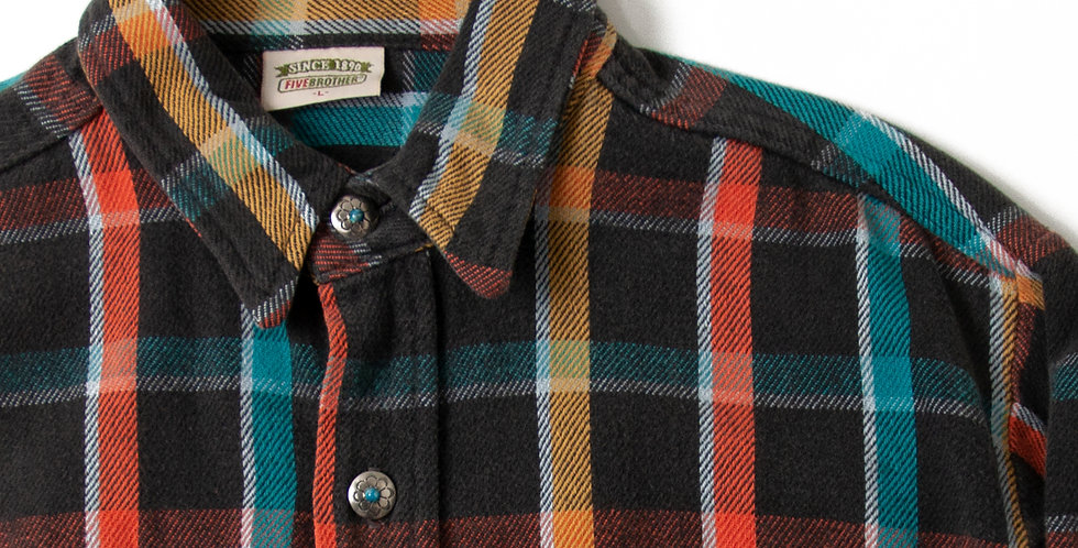 Vintage Flannel Shirt Custom Ralph Lauren Concho Button FB10