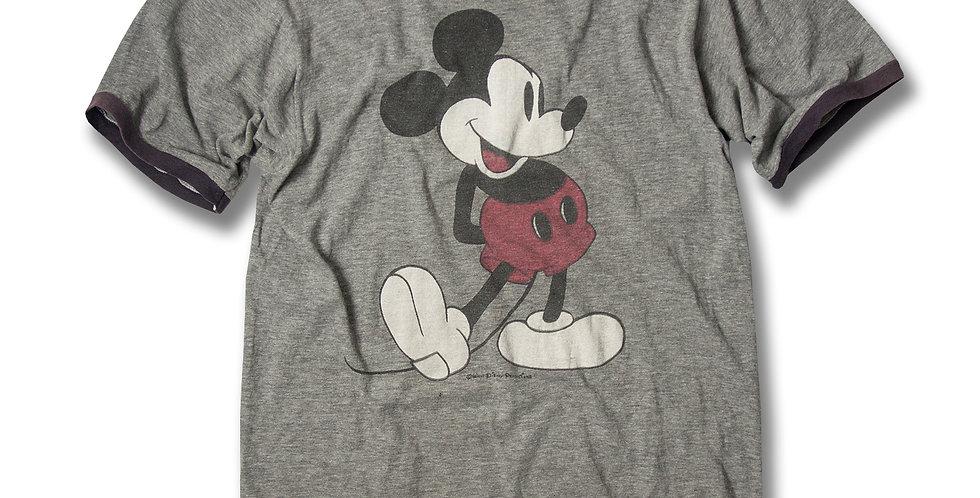 1980年代 ミッキーマウス  黒リンガー Tシャツ 白靴