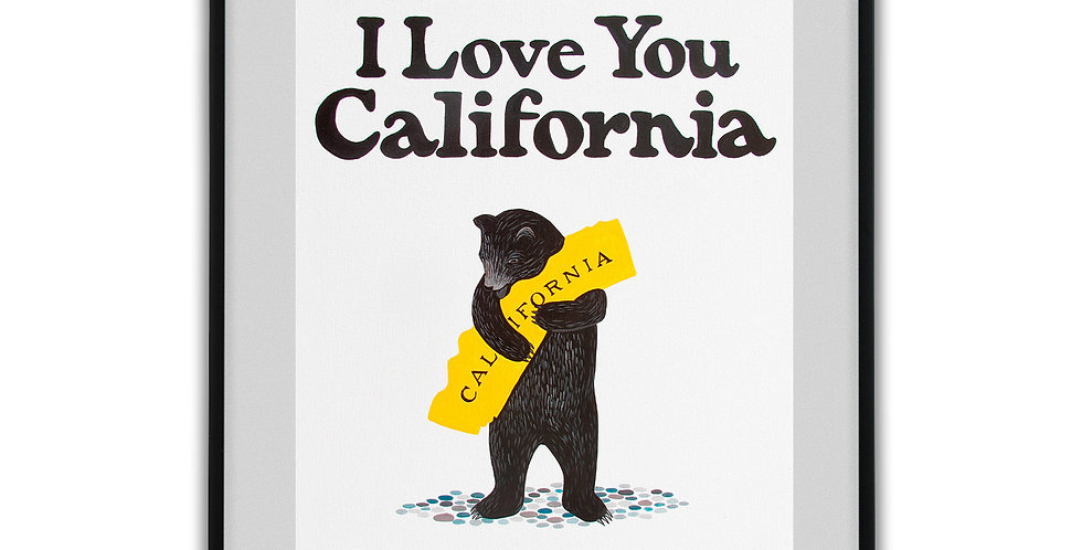 "3 Fish Studios ""I LOVE YOU CALIFORNIA"" WHITE BEAR PRINT 16""x20"""
