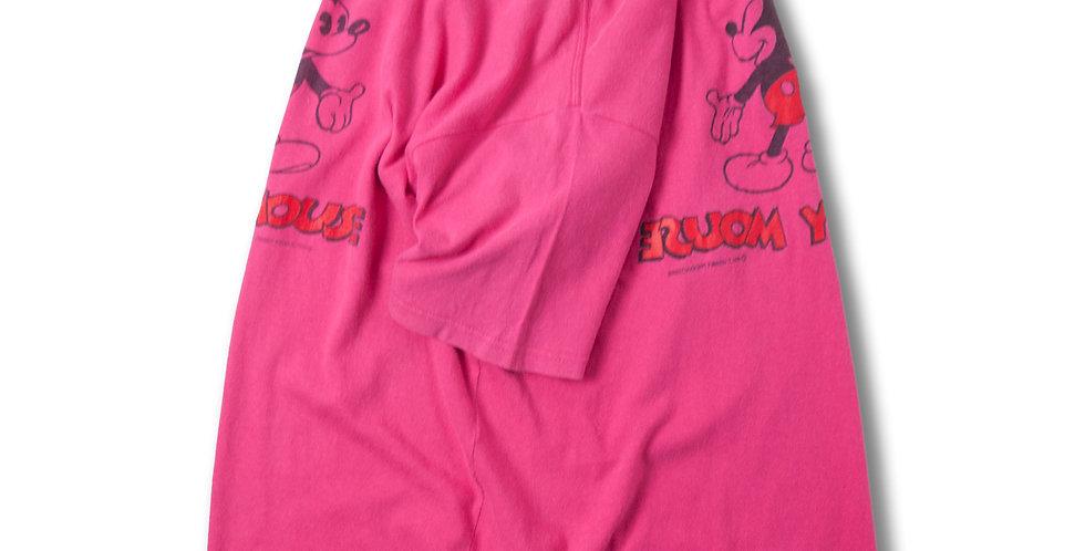 1990年代 ミッキー リバーシブルプリント オーバーダイ ピンク