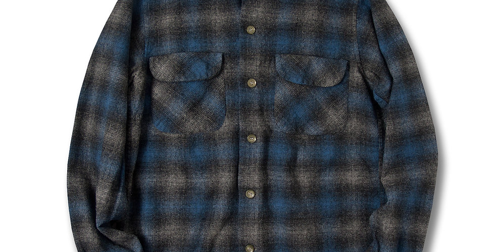 1950年代 ペンドルトン ボードシャツ ブルー/ブラック/グレー オンブレチェック