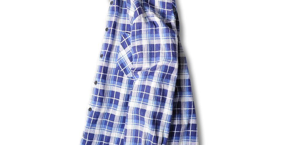 1980年代 HIGHLANDER FLANNEL by BUD BERMA プリントフランネルシャツ ブルー ネイビー ホワイト