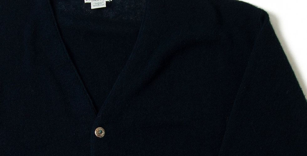 Vintage Acrylic Knit Cardigan With Ralph Lauren Concho Button CCC-09