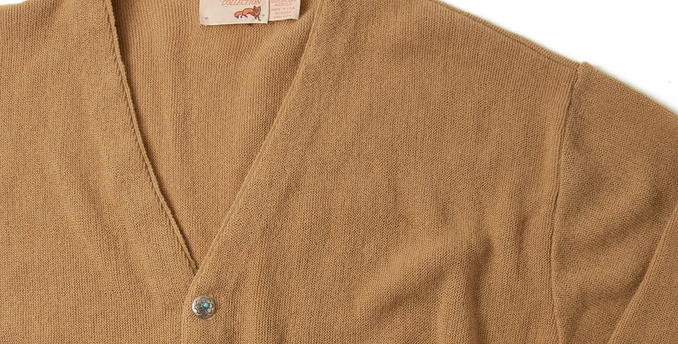 Vintage Acrylic Knit Cardigan With Ralph Lauren Concho Button CCC-05
