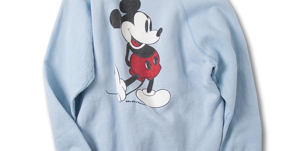 1980年代 ミッキーマウス ラグランスウェット ライトブルー 白靴