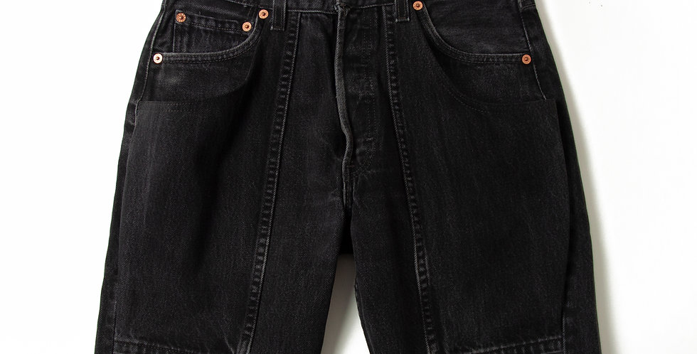 W30 Explorer Black Denim Shorts blk-1