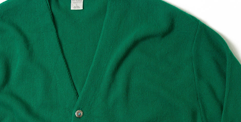Vintage Acrylic Knit Cardigan With  Ralph Lauren Concho Button CCC-01