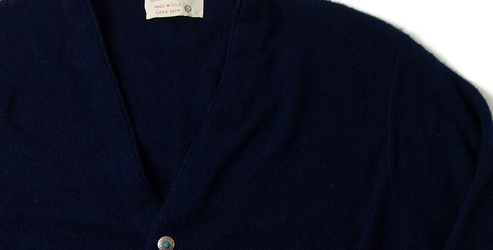Vintage Acrylic Knit Cardigan With Ralph Lauren Concho Button CCC-10