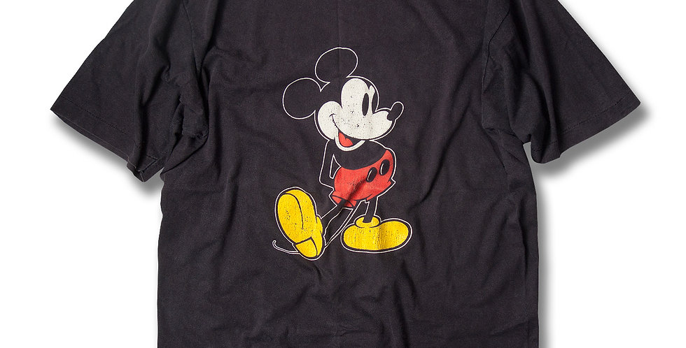 1980年代 コットン100% 黒ボディ ミッキーマウスTシャツ XL