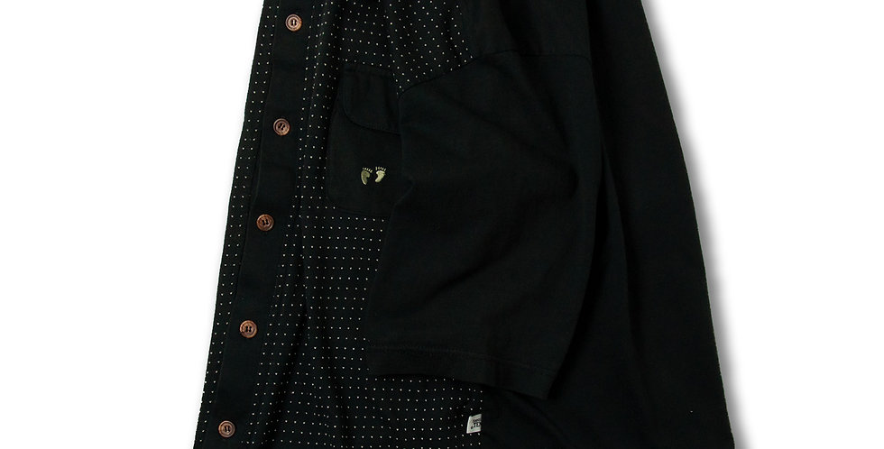 1970年代 ハンテン ビンテージ ボタン ポロシャツ ブラック