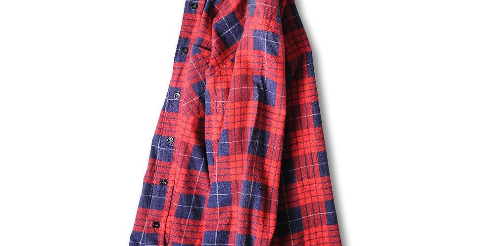 1980年代 ソーガタック プリントフランネルシャツ レッド ネイビー S