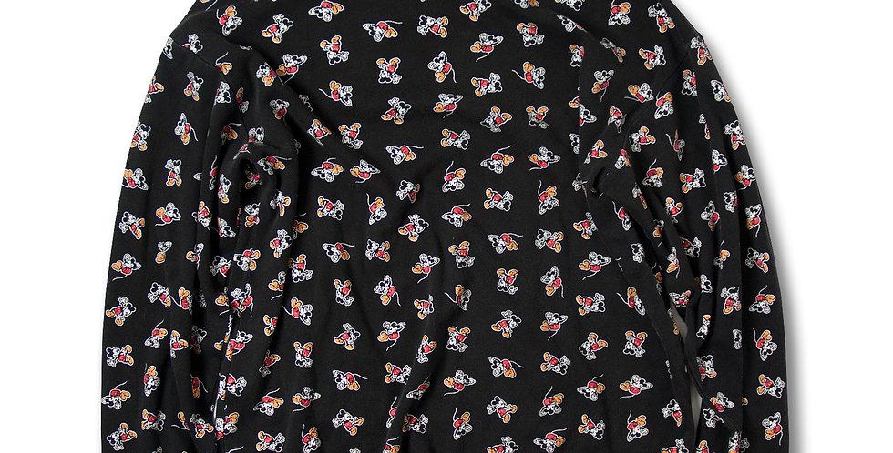 1990年代 ミッキーマウス マルチプリント コットン タートルネックシャツ ブラック