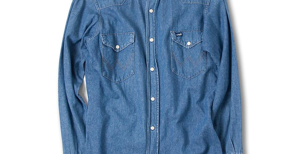 【14 1/2 - 32】 1980年代 アメリカ製 Wrangler デニムウエスタンシャツ